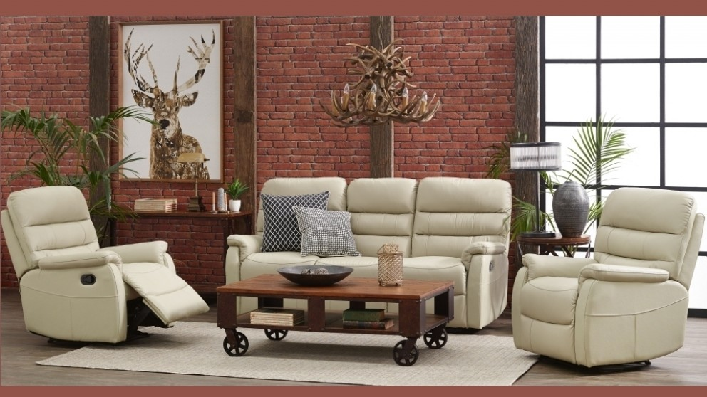 Luna 3 piece leather recliner lounge suite recliner for Leather living room suit