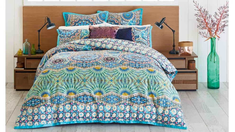 Mandalay Aqua Quilt Cover Set