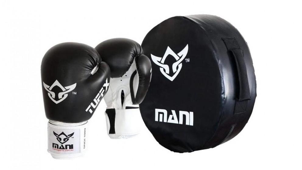 Mani Sports Round Kick Punch Shield & Boxing Gloves Large