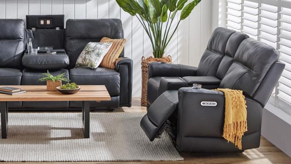 Leura 2-Seater Leather Powered Recliner Sofa - Ebony