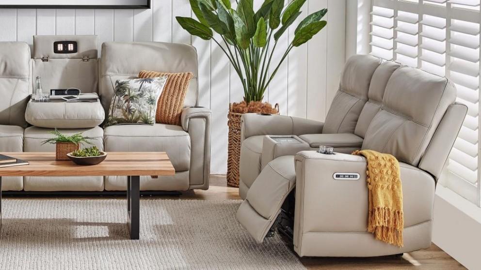 Leura 2-Seater Leather Powered Recliner Sofa - Antelope