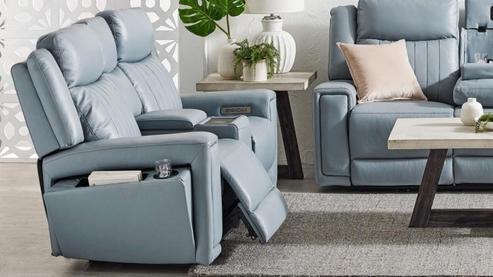 Jenolan 2-Seater Leather Powered Recliner Sofa - Ice Blue