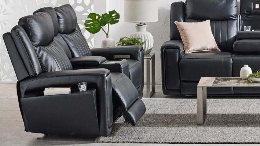Jenolan 2-Seater Leather Powered Recliner Sofa - Black
