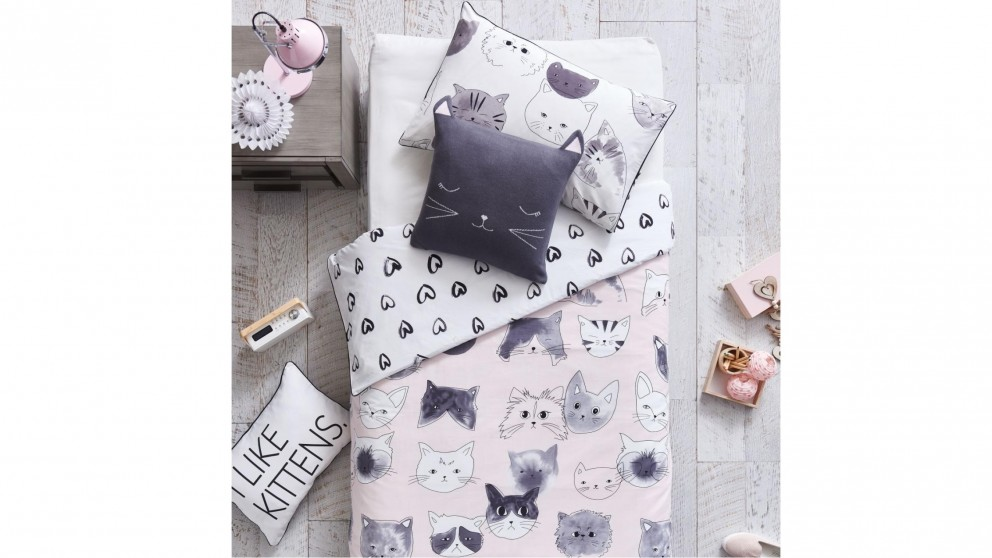Kittycat Pink Quilt Cover Set