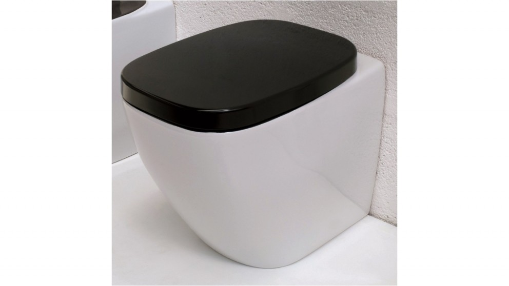 Parisi Dial Wall Faced Pan with In-Wall Cistern and Black Glass Flushplate
