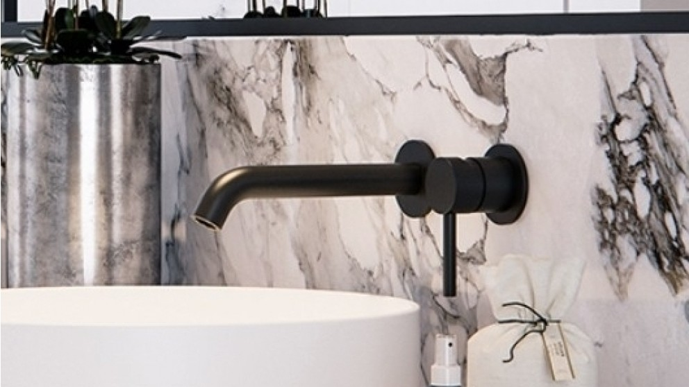 Arcisan Axus Wall Mounted 220mm Spout Basin Mixer with 2 Plates  - Matte Black
