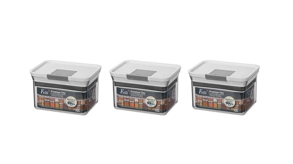 Felli Premium-Tite 0.8L Rectangle Storage Container - 3 Pack