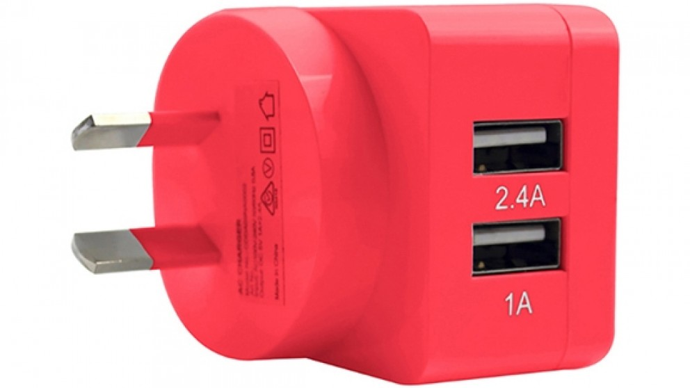 3SIXT Dual 3.4A USB Wall Charger - Pink