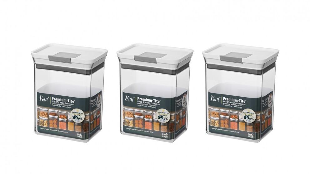 Felli Premium-Tite 2.0L Rectangle Storage Container - 3 Pack