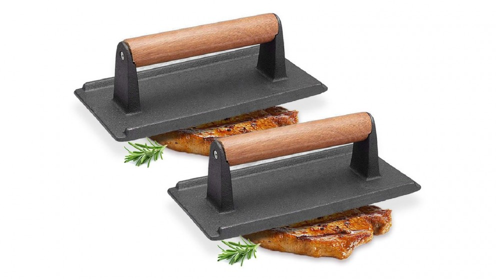 SOGA 2x Cast Iron Bacon Meat Steak Press Grill BBQ with Wood Handle Weight Plate