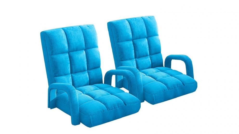 Soga 2X Floor Recliner Lazy Chair with Armrest - Blue