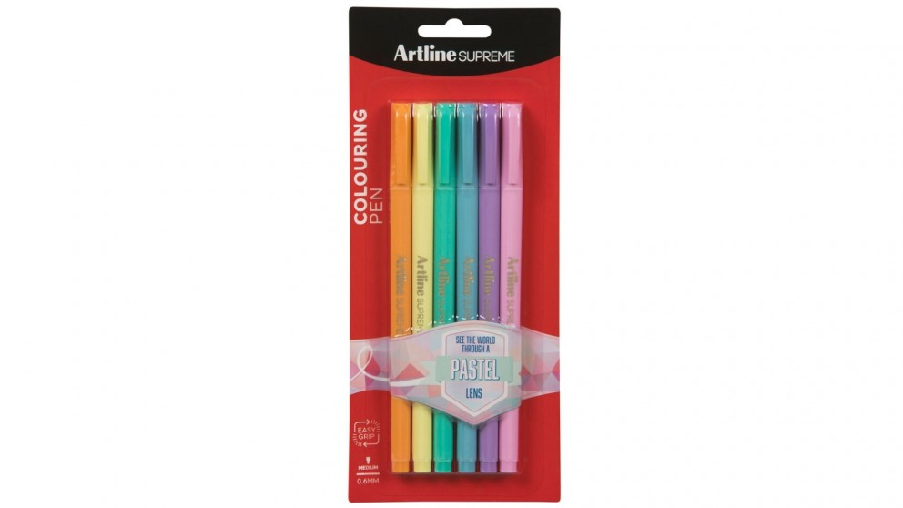 Artline 6-Piece Supreme 0.6mm Fine Pens - Assorted Pastel Colours