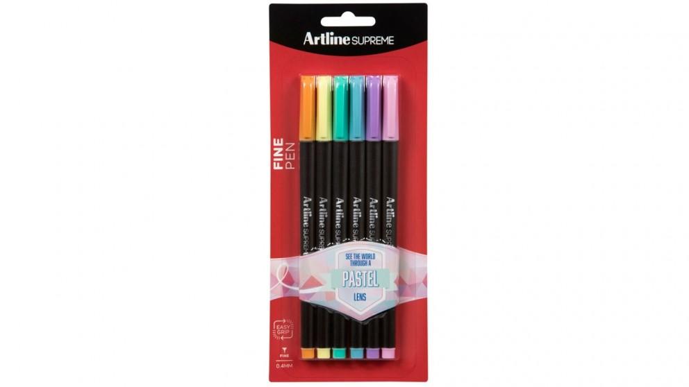 Artline 6-Piece Supreme 0.4mm Fine Pens - Assorted Pastel Colours