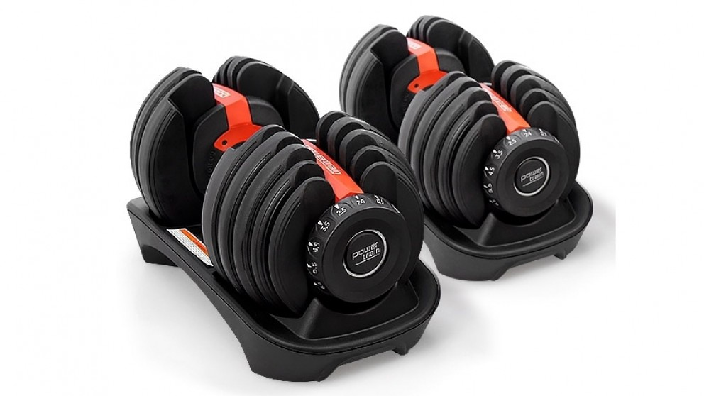PowerTrain Adjustable Dumbbell Pair 48kg