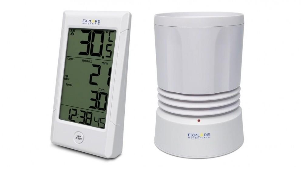 Explore Scientific Rain Gauge with Indoor/Outdoor Temperature