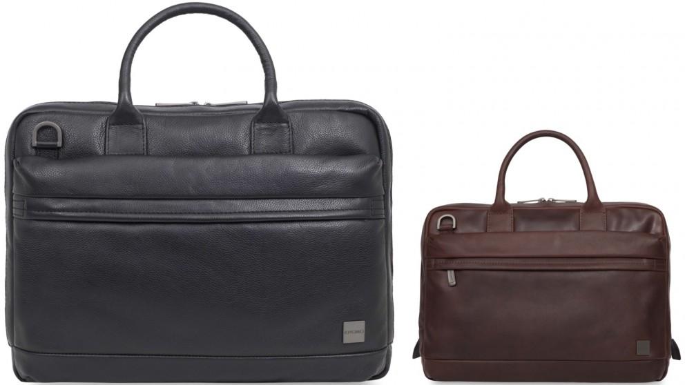 "Knomo Barbican Foster 14"" Leather Laptop Briefcase"