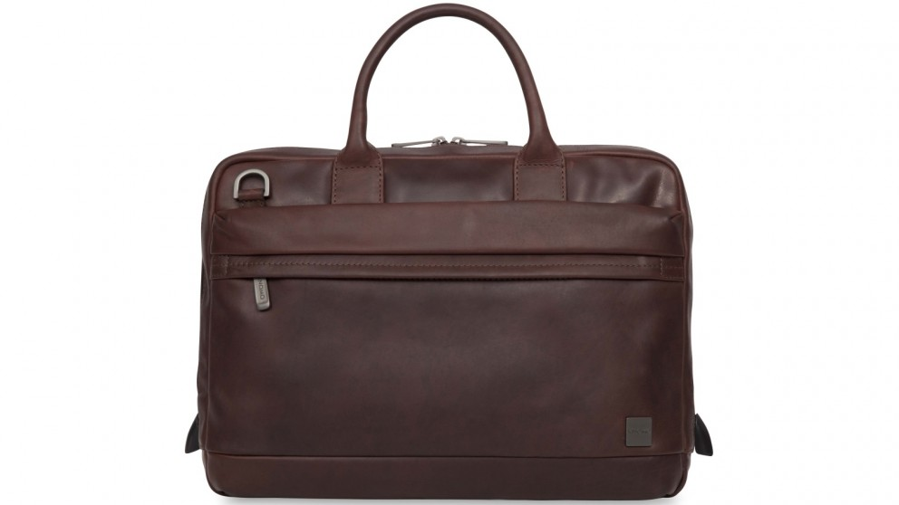"""Knomo Barbican Foster 14"""" Leather Laptop Briefcase - Brown"""