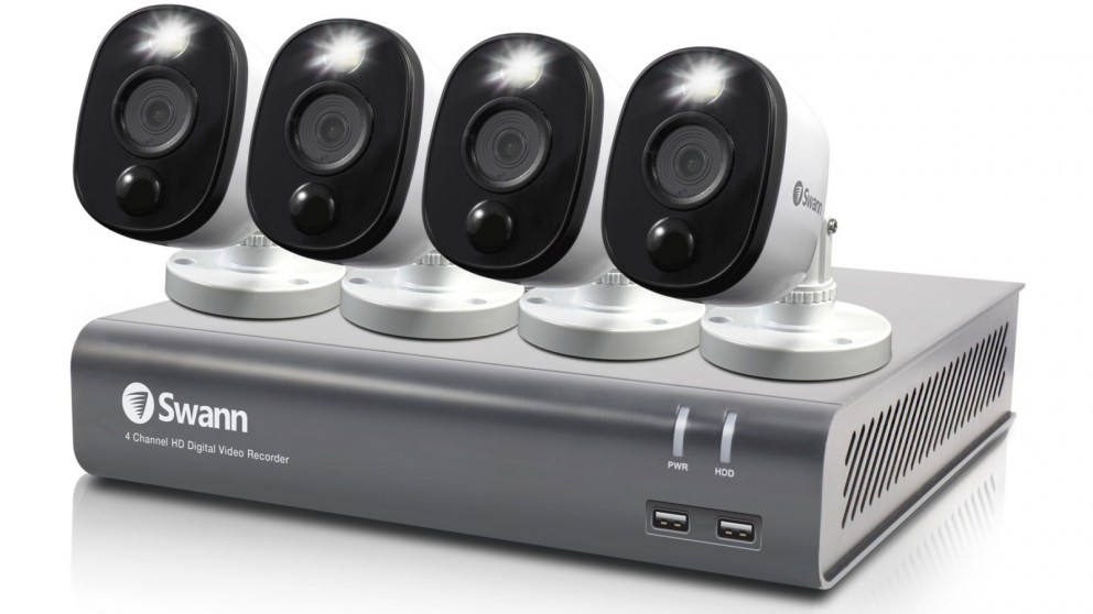Swann DVR-4580 4 Channel 1080p DVR Security System with 4 Sensor Warning Light Camera