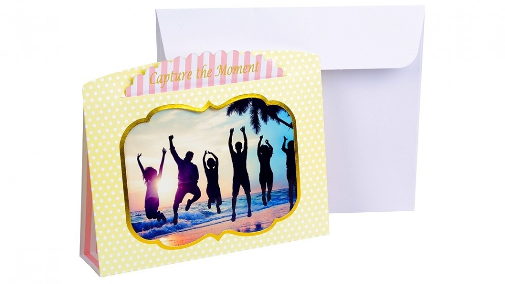 """Instax 6"""" x 4"""" Photo Frame Card - Yellow & Pink"""