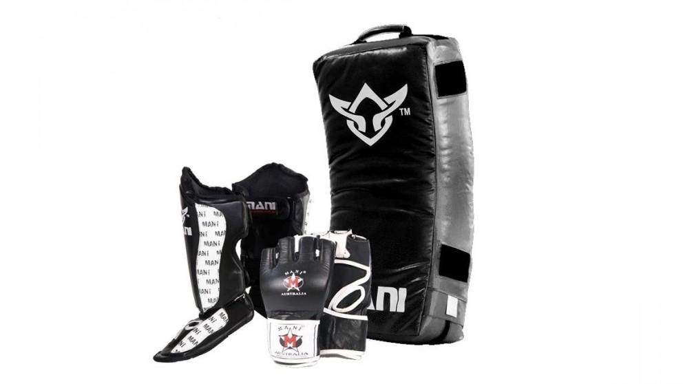 Mani Sports Curved Kick Shield + Medium MMA Gloves + Small Shin N Steps