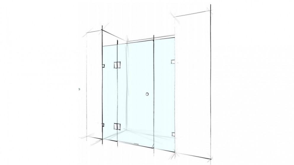 Verotti Custom 2000mm Front Only Wall to Wall 3 Panels Bracket Shower Screen - Clear