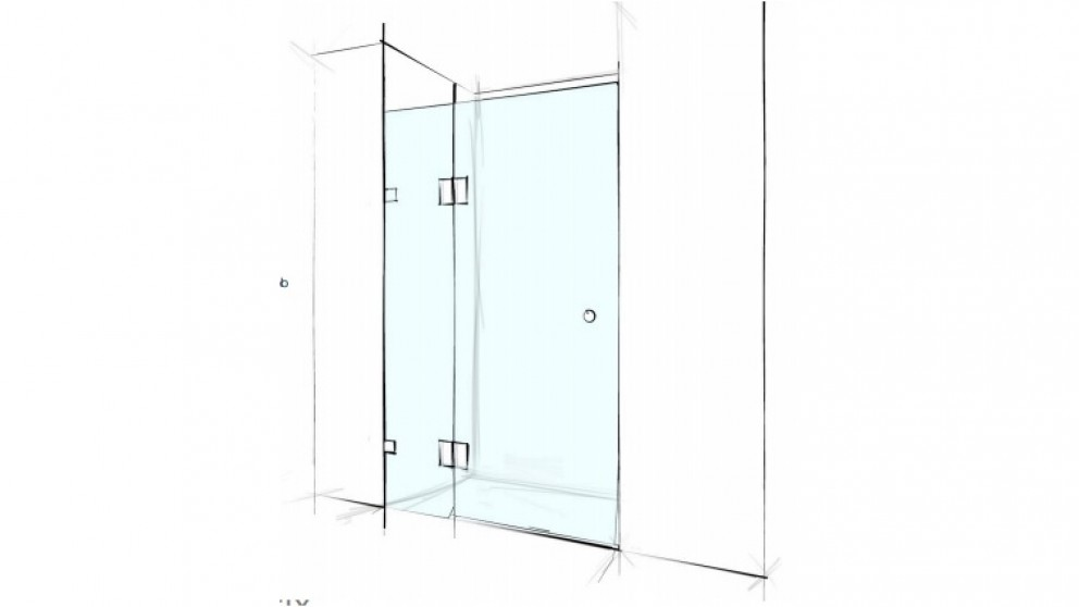 Verotti Custom 1600mm Front Only Wall to Wall 2 Panels Bracket Shower Screen - Clear