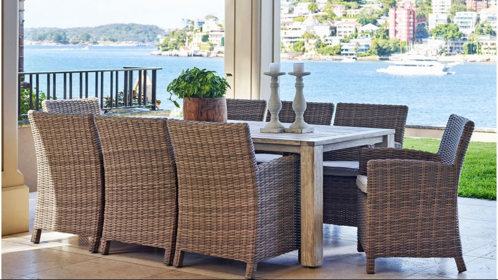 Buy capella 9 piece outdoor dining setting harvey norman au for Outdoor furniture harvey norman