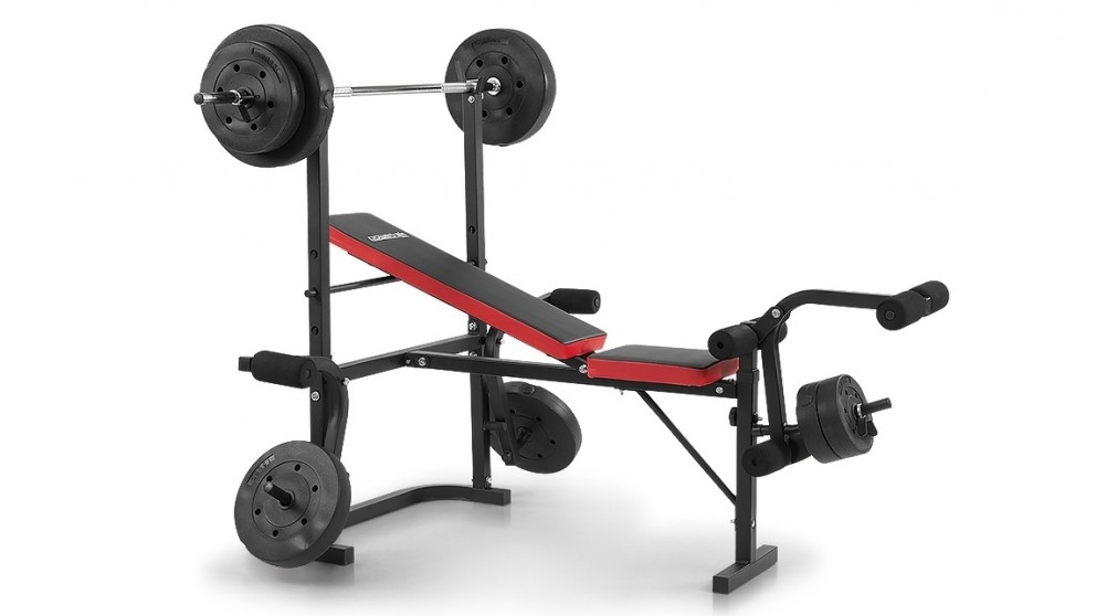 Buy Powertrain Home Gym Bench Press With 45kg Weights Harvey Norman Au