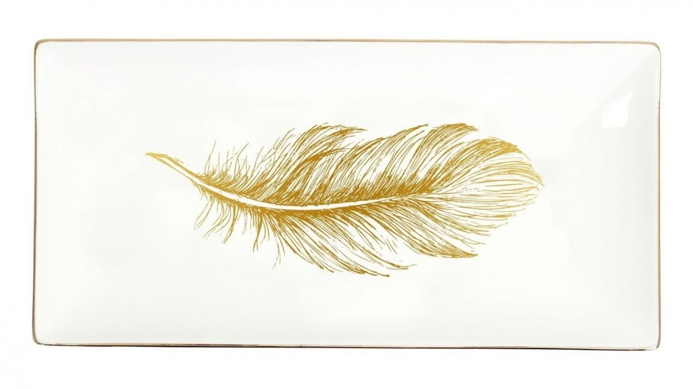 Splosh Tranquil Gold Feather Small Platter