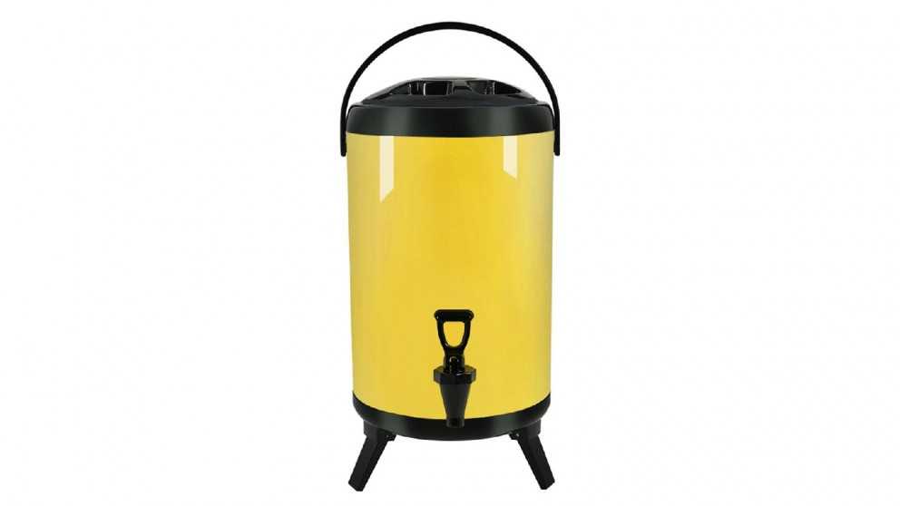 Soga 8L Stainless Steel Milk Tea Barrel with Faucet - Yellow