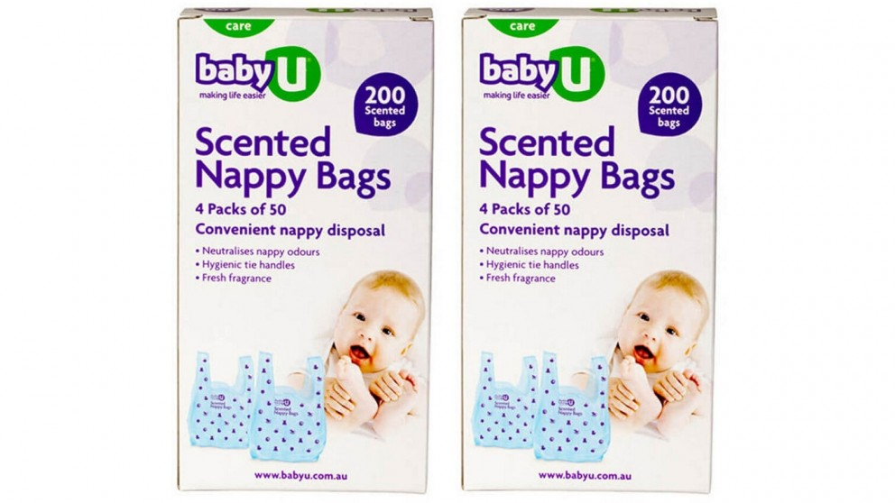 Baby U 200-Piece Scented Nappy Bags - 2-Pack