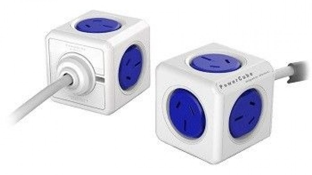 Allocacoc Powercube Extended with 3m Cable - Blue