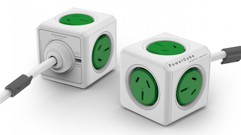 Allocacoc Powercube Extended with 1.5m Cable - Green
