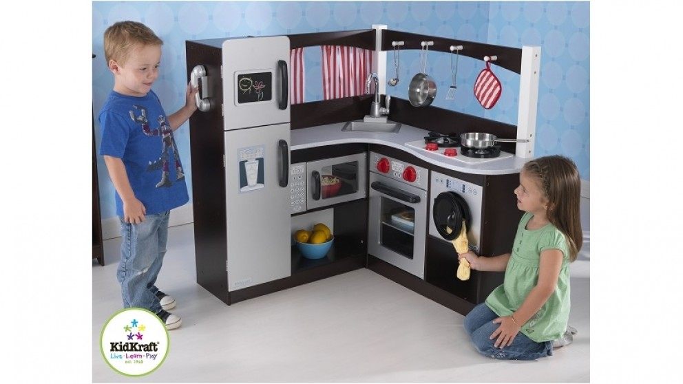 KidKraft Grand Espresso Corner Kitchen - Role Play | Harvey Norman ...