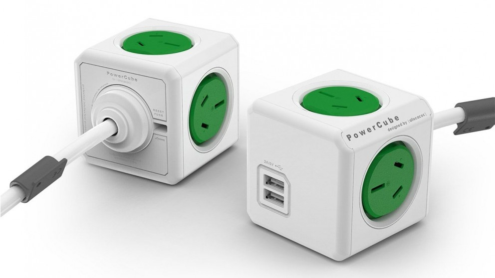 Allocacoc Powercube Extended USB with 1.5M Cable - Green