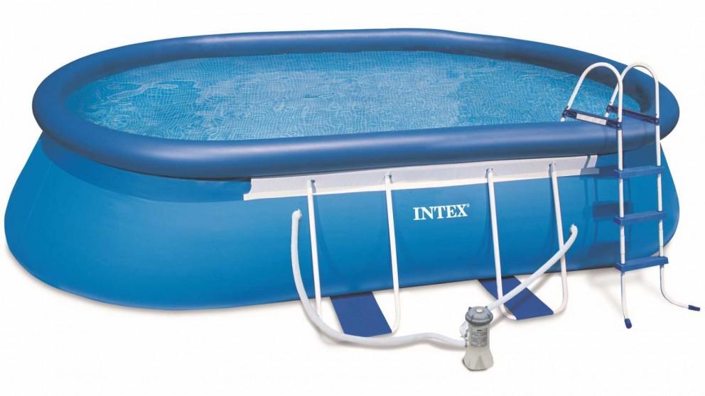 "Intex 18' x 10' x 42"" Oval Frame Pool"