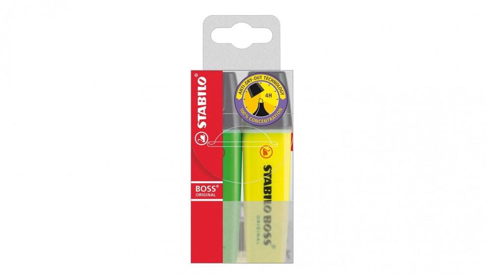 Stabilo Boss Wallet 2-Pack - Yellow & Green