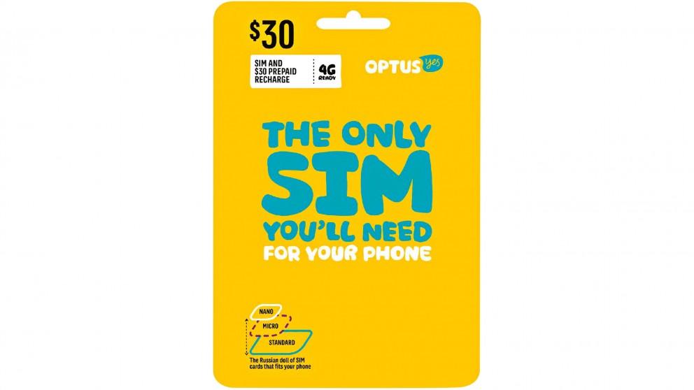 Optus $30 Pre-Paid Standard/Micro/Nano Sim Starter Kit