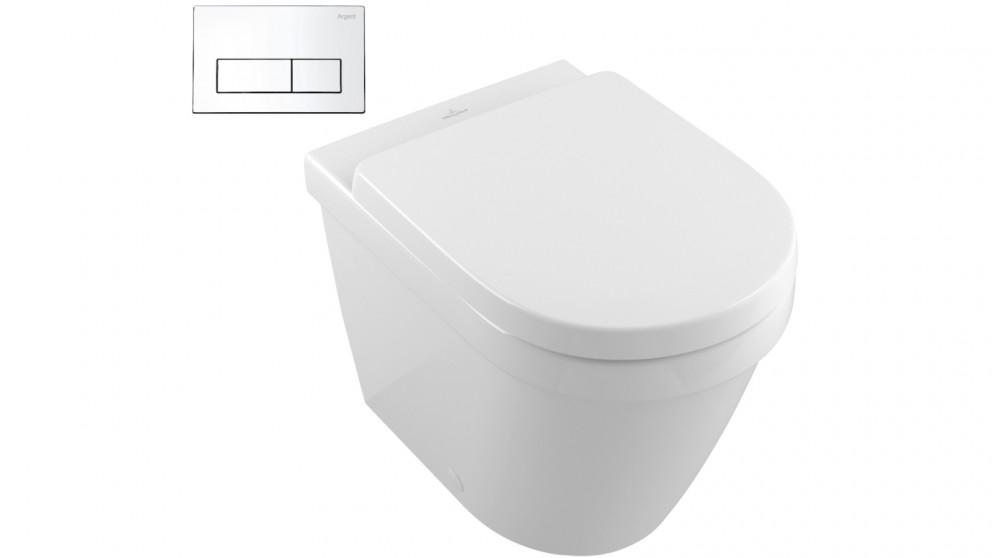 Toilet Villeroy En Boch.Villeroy Boch Architectura Wall Face Toilet Suite With Rectangular Chrome Flush Plate