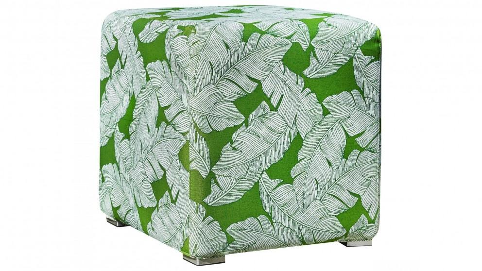 Splash Outdoor Ottoman - Green Palm