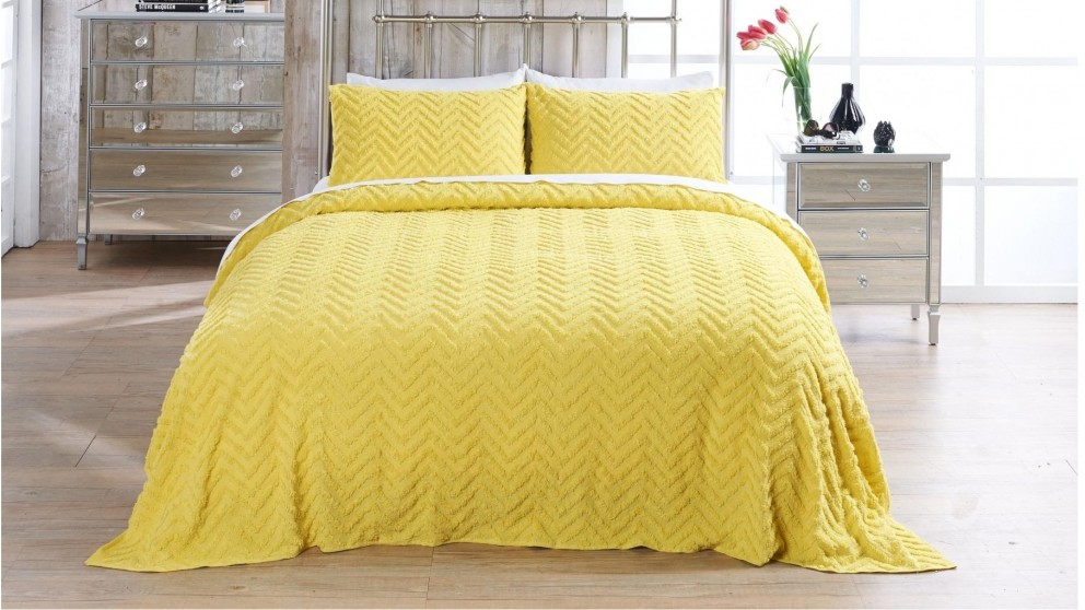 Heather Chartreuse Coverlet Set -  Queen/King