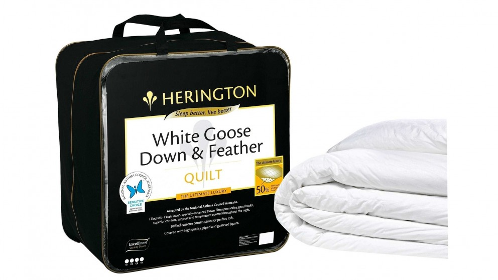 Herington 50/50 White Goose Down and Feather Quilt