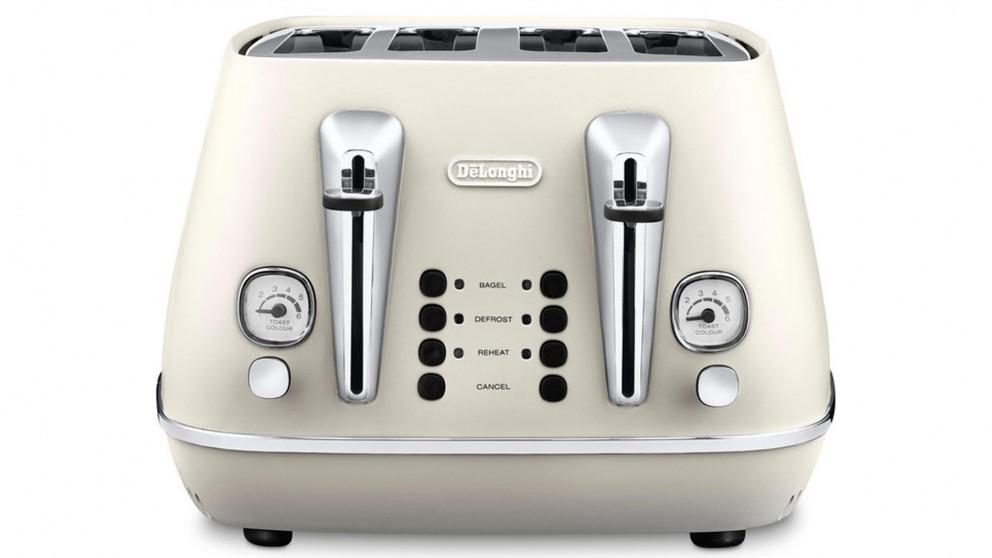 DeLonghi Distinta 4 Slice Toaster White Toasters Small