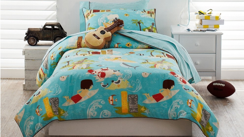 Wipe Out Aqua Single Quilt Cover Set