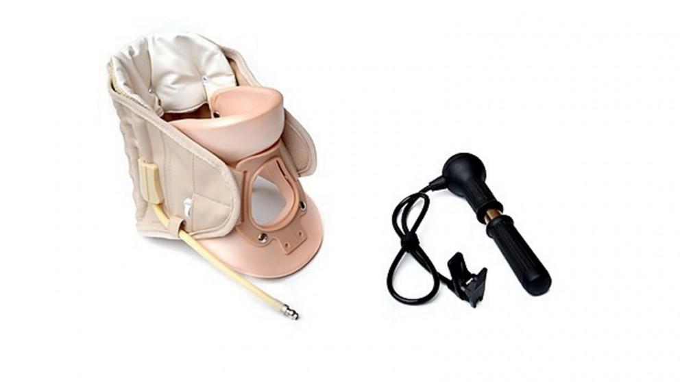 Serrano Neck Traction Air Decompression Support Brace Cervical Collar Hand Pump - Beige