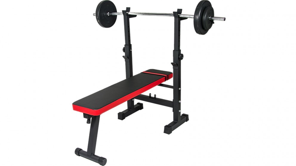 Serrano Folding Flat Weight Lifting Bench Body Workout Exercise Machine Home Fitness - Black/Red