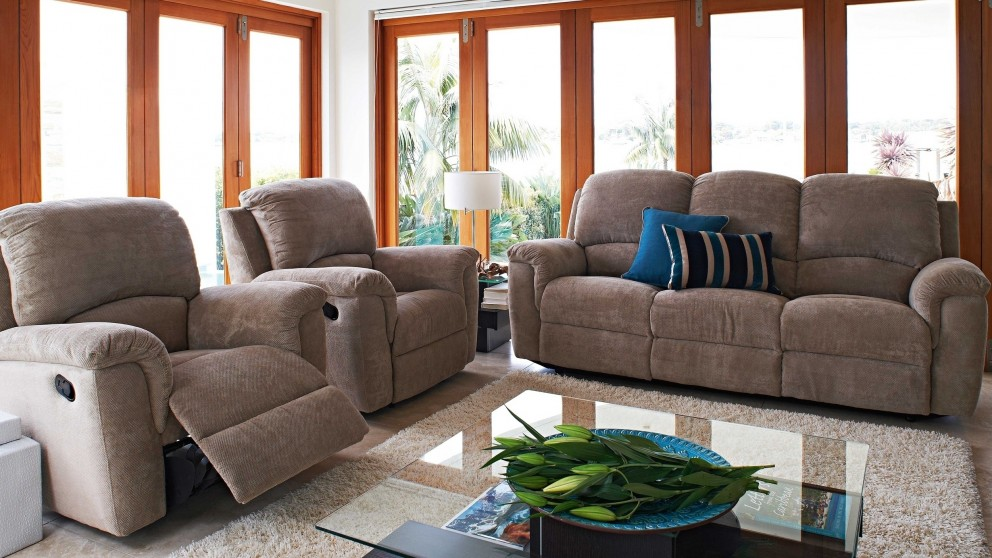 Buy shelley 3 piece fabric recliner lounge suite harvey for Furniture 3 piece suites