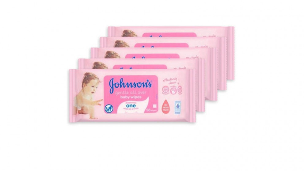 Johnson's 56 Pieces Gentle Cleansing Baby - Pack of 5