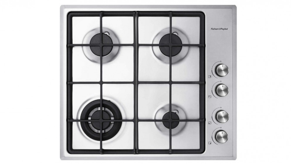 Fisher & Paykel 600mm 4 Burner Gas on Steel Cooktop - LPG