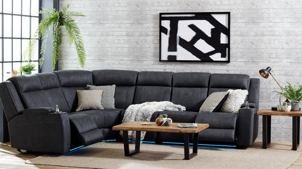 Beautiful Phoenix Powered Fabric Recliner Modular Sofa